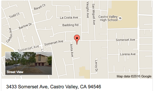 Map to Our Lady of Grace, Castro Valley